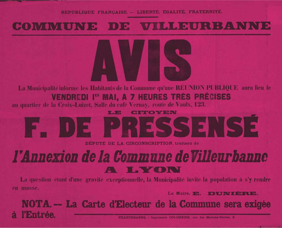 Affiche contre l'annexion de Villeurbanne par Lyon, 1902, AMV/le Rize.