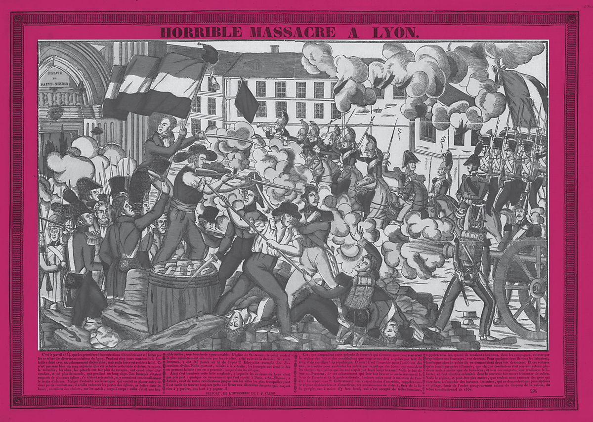 Horrible massacre à Lyon : la révolte des canuts de 1834, Anonyme, estampe collection BNF - Gallica.