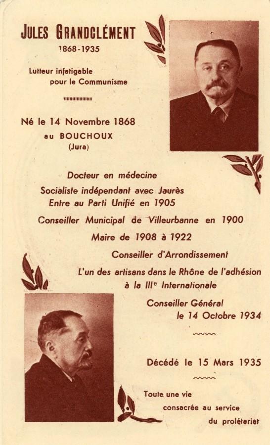 Extrait de la notice nécrologique de Jules Grandclément, 1935.Archives municipales de Villeurbanne / Le Rize, 3 D 8. 1/3