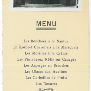 Maison du Peuple de Pierre-Bénite, menu du banquet inaugural, 1934. Archives municipales de Pierre-Bénite.
