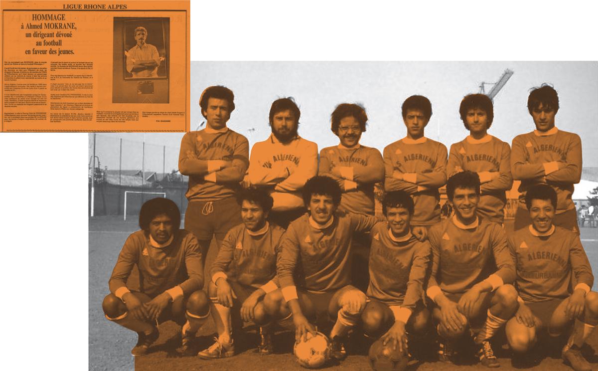 Équipe de l'Asav, années 1980.  Hommage à Ahmed Mokrane en 1990 dans la presse locale. DR, archives du club