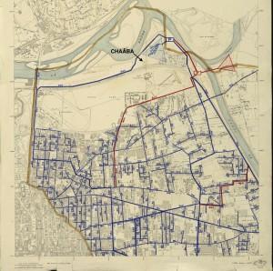 carte de Villeurbanne (1949) situant la Feyssine et l'emplacement du Châaba