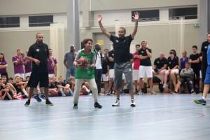 Tony Parker Camp le 21 juillet 2014 avec la ministre de la jeunesse et des sports (ph. G. Michallet)