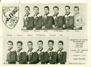 L'équipe de l'ASVEL au milieu des années 1950 (ph. Egéa -Gaymard)
