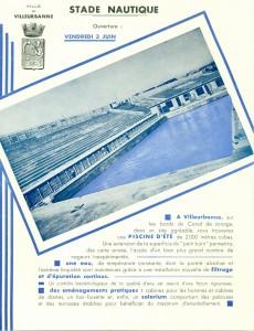 affichette pour l'ouverture de la piscine de Cusset (1931) (cote 1M76)