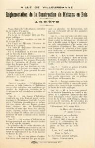 arrêté municipal réglementant les constructions de bois, 24 mars 1930