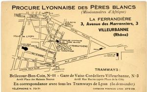 carton de la Procure des Pères Blancs situant leurs bâtiments dans La Ferrandière entre 1937 et 1954 (2Fi569)