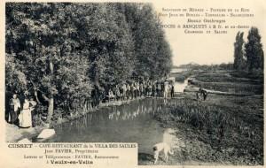 guinguette au bord de la Rize avant 1910 (carte postale)