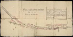 Plan de la traverse du hameau des Charpennes en 1822 (6Fi3)