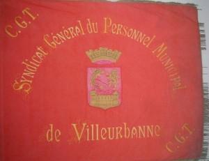 bannière du syndicat CGT du personnel municipal avant la 2e guerre mondiale