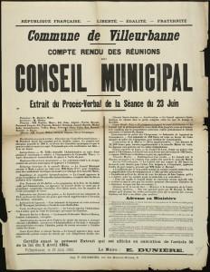 premier règlement du personnel communal de Villeurbanne au conseil municipal du 23 juin 1903 (affiche 8Fi19)