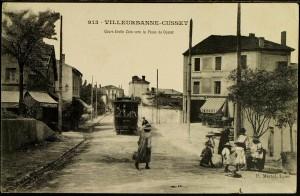 le cours Emile Zola et le tramway vers la place de Cusset avant 1914
