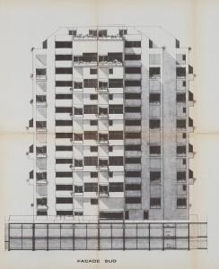 plan de façade de la résidence Jean-Gabin (architectes Gimbert et Vergely)