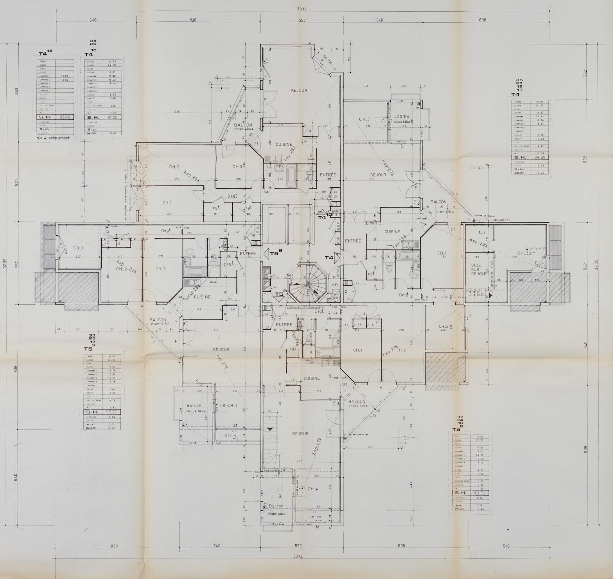 Plan détage de la résidence jean gabin architectes gimbert et vergely