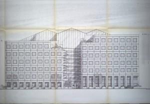 Plan d'élévation de la façade nord, cours André Philip (cote AMV PC109/1982)