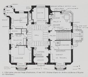 plan schématique de la villa élaboré par A.-S. Clemençon à partir des plans de 1921.