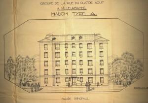 Plans pour la construction de la résidence en 1921 (cote 5J290)