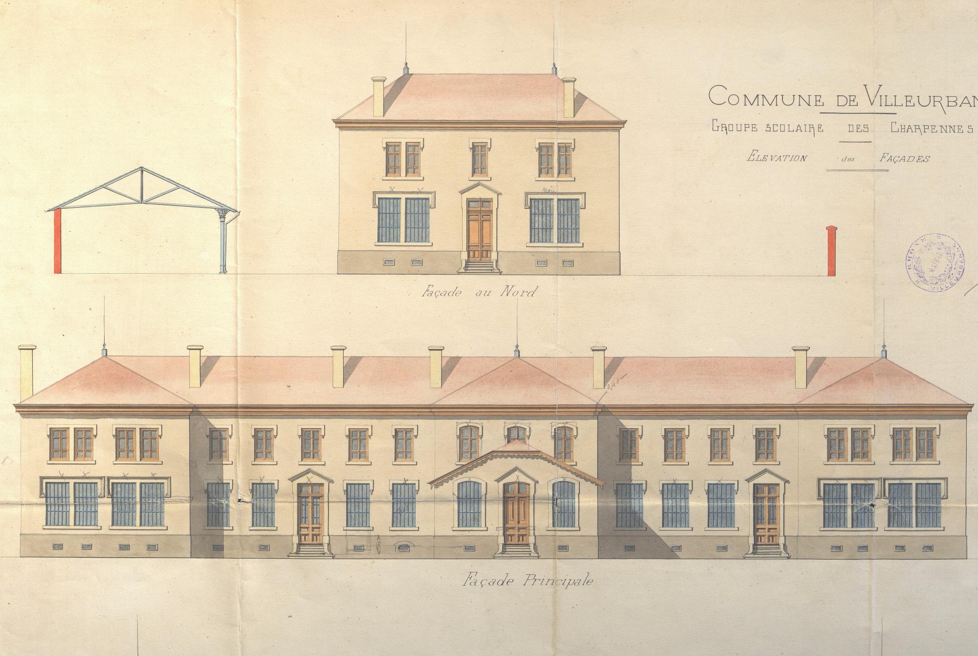 Elévation Ouest du groupe scolaire Lakanal, 1889. Architecte : Chatelan.