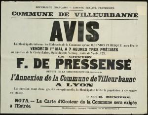 affiche de propagande contre l'annexion de la commune de Villeurbanne à la ville de Lyon (AMV 8Fi 52)