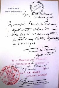 Déclaration de candidature de F. de Pressensé, législatives de 1906 ( ADR 3M1361)