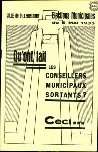 plaquette de propagande électorale pour les municipales de mai 1935