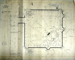 Plan du niveau culte de l'église Notre-Dame de l'Espérance (Permis de construire 359/1963, AMV)