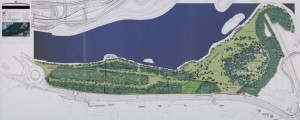 Parc de la Feyssine : plan de masse des aménagements paysagers, 1/1000e avril 2000. (cote AMV 6Fi39).