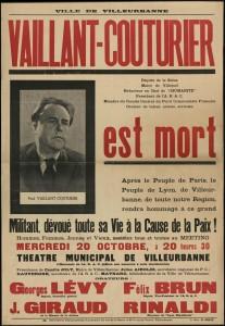 Affiche appelant les villeurbannais à rendre hommage à P. Vaillant-Couturier décédé le 10 oct. 1937 (AMV-8Fi247)