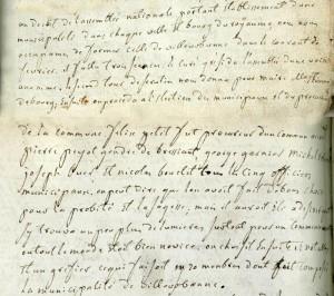 extrait de la chronique du curé de Villeurbanne Dechastelus (1791) (AMV GG8)