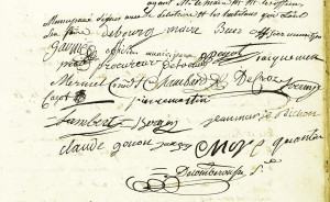 Signatures des membres du conseil municipal du 27 mai 1790 (AMV 1D260)
