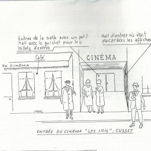Entrée du cinéma dessinée par Francis Sautel.