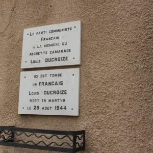 La plaque en la mémoire de Louis Ducroize, rue Louis Ducroize (photo IQMP)