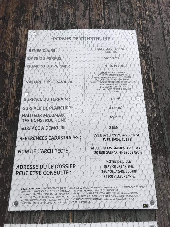 affichage du permis de construire (novembre 2020)